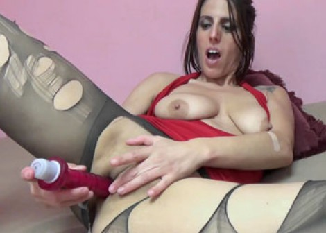 Lavender is masturbating in torn pantyhose