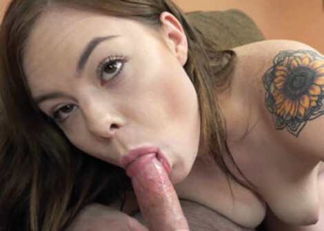 Teen Riley swallows an old dude's cock